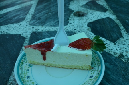 Fresh strawberry cheesecake at the farm!