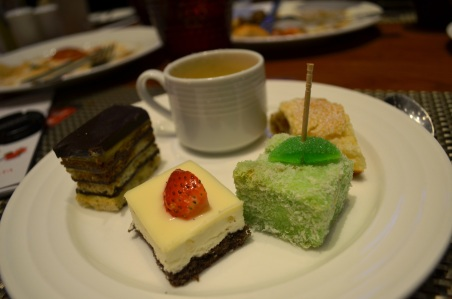 My plate of desserts - Opera, Coconut mousse, Lamington, apple strudel