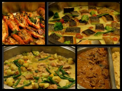 Entrees - Lobster Thermidor, Salmon in White Wine, Rabbit Stew and Rippli (Pork loin stew)