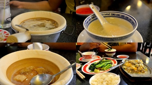 Sharkfin soup, Bird Nest soup, Oysters in eggs, Chinese broccoli with mushrooms @ Nam Sing restaurant