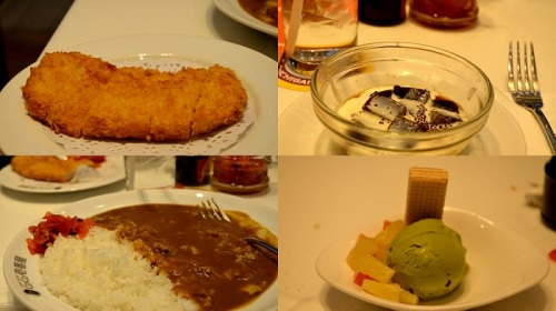 Japanese clam curry, crispy pork cutlet, coffee jelly and green tea (Matcha) ice cream @ Siam Paragon Mall food court