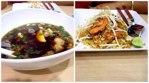 Roast pork in pork offal broth, Shrimp pad thai @ Terminal 21 food court