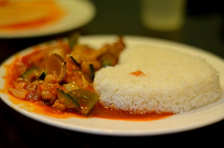 Stir fried pork with vegetables and rice