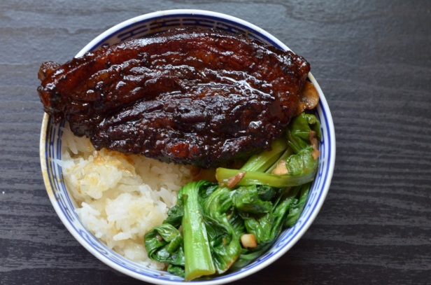 Braised pork belly with sticky rice and greens