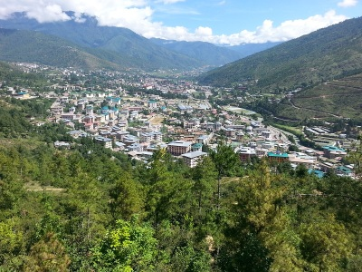 An aerial view of Thimpu town