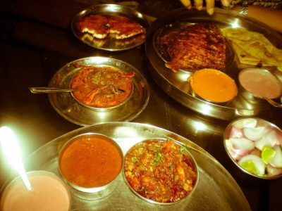 Konkani seafood thali fish, mussels, clams, etc