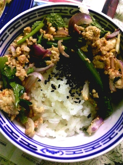 Thai chicken larb salad (Larb Gai)